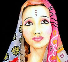 Indian Girl Portrait Painting by Almonda