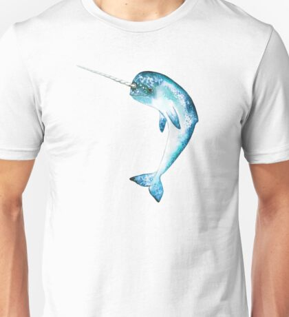 Narwhal, Cyan Unisex T-Shirt