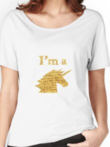 I'm a Unicorn Head in Photo in Gold Women's Relaxed Fit T-Shirt