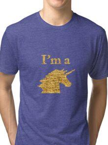 I'm a Unicorn Head in Photo in Gold Tri-blend T-Shirt