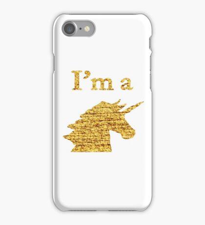 I'm a Unicorn Head in Photo in Gold iPhone Case/Skin