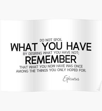 what you now have was once what you only hoped for - epicurus Poster