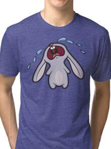 Sad Crying Bunny Rabbit Tri-blend T-Shirt
