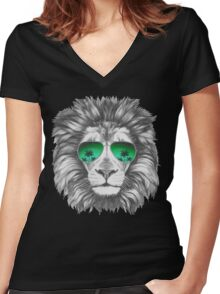 Lion with sunglasses Women's Fitted V-Neck T-Shirt
