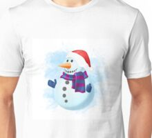 Snowman with Gloves Muffler and Santa Hat Christmas  Unisex T-Shirt