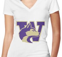 University of Washington Huskies Women's Fitted V-Neck T-Shirt