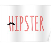 Hipster mustache coral Poster