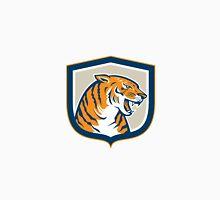 Angry Tiger Head Sitting Growling Shield Retro Unisex T-Shirt