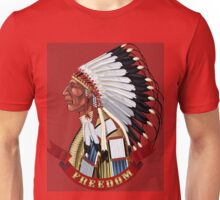 Native American Indian old profile war bonnet freedom. Unisex T-Shirt
