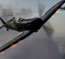 """Guns Blazing"" - Fantastic Digitial Painting of Spitfires in Battle / Spitfire WW2 by verypeculiar"