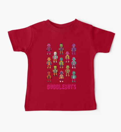 GoggleBots - robot pattern on Blue Baby Tee