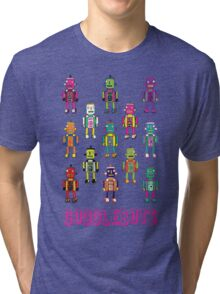 GoggleBots - robot pattern on Blue Tri-blend T-Shirt