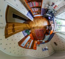 House interior in little planet view style, space distortion Sticker