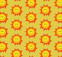 Cute Happy Sun Pattern by Boriana Giormova