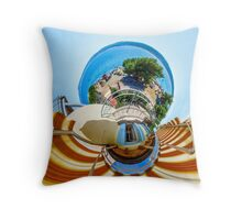 Little planet view from the balcony over the beach, seaside Throw Pillow