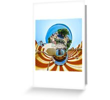 Little planet view from the balcony over the beach, seaside Greeting Card
