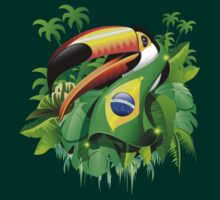 Toco Toucan with Brazil Flag T-Shirt