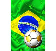 Brazil Flag Gold Green and Soccer Ball Photographic Print