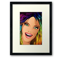 Happy Girl Rainbow Fashion Hair Framed Print
