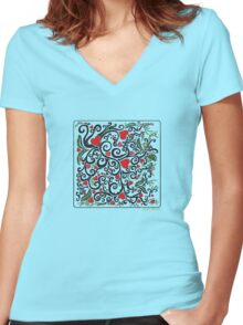 Heart Bloom Women's Fitted V-Neck T-Shirt