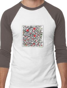 Heart Bloom Men's Baseball ¾ T-Shirt