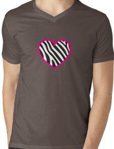 Zebra Heart Mens V-Neck T-Shirt