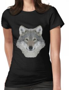 Gray Wolf Portrait Womens Fitted T-Shirt
