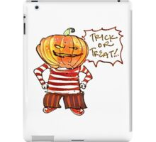 pumpkin head kid say trick or treat halloween cartoon iPad Case/Skin
