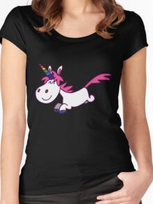 Galloping Cartoon Unicorn by Cheerful Madness!! Women's Fitted Scoop T-Shirt