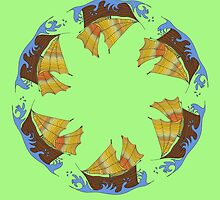 round pattern with colored ships by Scotchme