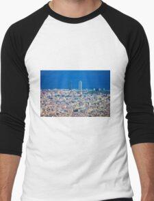 Barcelona City, Drone View Men's Baseball ¾ T-Shirt
