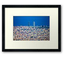 Barcelona City, Drone View Framed Print