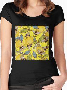 Yellow lemon and bee garden. Women's Fitted Scoop T-Shirt