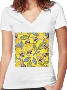 Yellow lemon and bee garden. Women's Fitted V-Neck T-Shirt