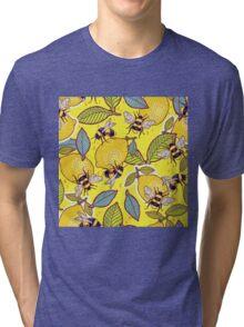 Yellow lemon and bee garden. Tri-blend T-Shirt