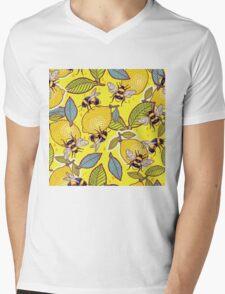 Yellow lemon and bee garden. Mens V-Neck T-Shirt