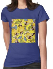 Yellow lemon and bee garden. Womens Fitted T-Shirt