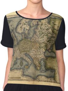 Antique Map of Europe, by Abraham Ortelius, circa 1570 Chiffon Top