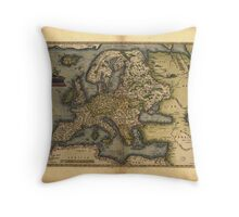 Antique Map of Europe, by Abraham Ortelius, circa 1570 Throw Pillow