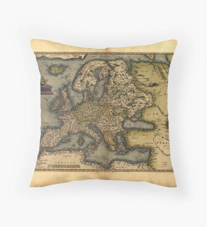 Antique Map of Europe, by Abraham Ortelius, circa 1570 Throw Pillow
