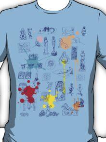 History of Art (blue artlines, w/ paint splashes) T-Shirt