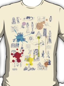 History of Art (blue artlines, w/ paint splashes) T-Shirt