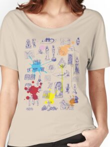 History of Art (blue artlines, w/ paint splashes) Women's Relaxed Fit T-Shirt