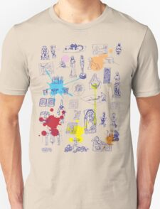 History of Art (blue artlines, w/ paint splashes) Unisex T-Shirt