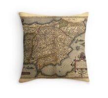 Antique Map of Spain, by Abraham Ortelius, circa 1570 Throw Pillow