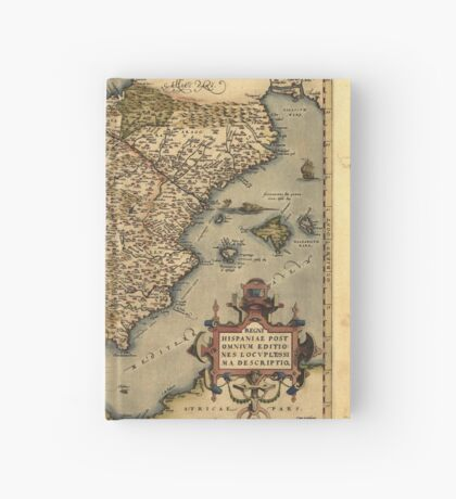 Antique Map of Spain, by Abraham Ortelius, circa 1570 Hardcover Journal