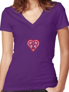 Folk heart 3 centre Women's Fitted V-Neck T-Shirt