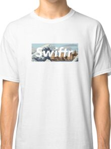great wave off the mersey river (white text) Classic T-Shirt