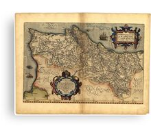 Antique Map of Portugal, by Abraham Ortelius, circa 1570 Canvas Print
