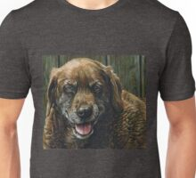 Old Smiling Chocolate Lab, painting Unisex T-Shirt